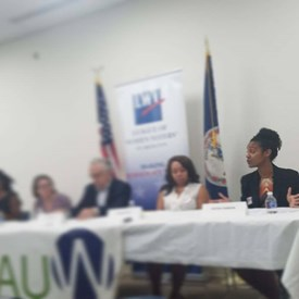 9/29/18: Discussing the issues at a School Board debate hosted by the Arlington League of Women Voters and the Alexandria branch of the AAUW.
