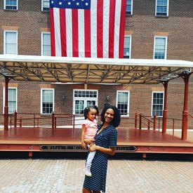 Enjoying a beautiful day at the Alexandria City Hall with cousin Kinsley.