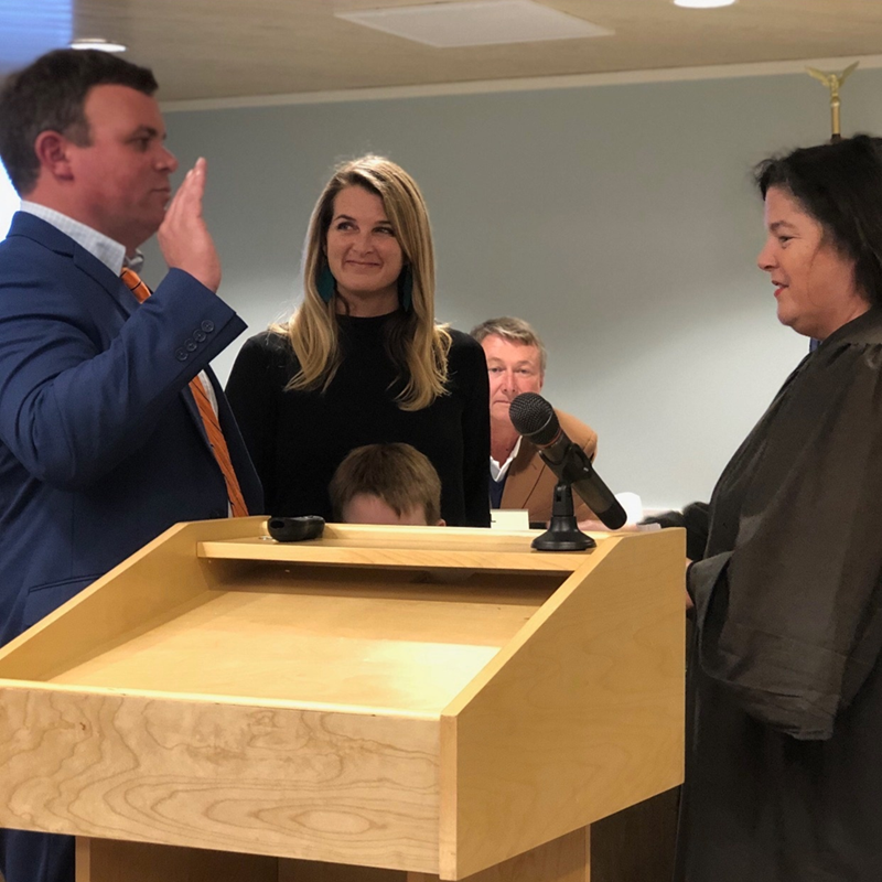 Judge Sandra Alice Ray swearing in Wrightsville Beach Alderman Jeff DeGroote