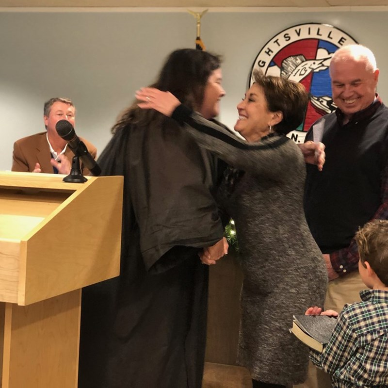 Judge Sandra Alice Ray swearing in Wrightsville Beach Alderman Zeke Partin