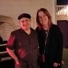Joan B. Harris with the talented Altman Brother's band member and BTDC representative, Chris Longo.