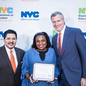 Farah Despeignes, NYC School Chancellor Richard Carranza and Mayor Bill de Blasio