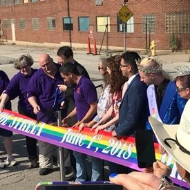 "We had the opportunity to attend the ribbon-cutting ceremony for the naming of Pride Street this morning. To quote one of the speakers:  ""Whenever everyone in a community feels welcomed, respected and loved, the community as a whole is healthier."""