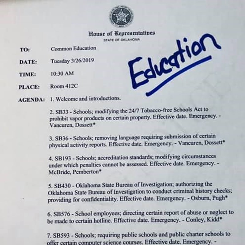 I serve on the Common Education Committee.  This is an example of the types of bills we hear each week.