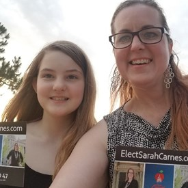 The sun is setting and there's a nice breeze. Miss J Carnes and I are wrapping up our night of HD 47 door knocking.  Thank you for getting to know me and discussing Oklahoma education and the economy, both foundations of our future! (6/04/2018)
