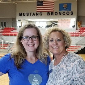 Katherine Bishop, Vice President, Oklahoma Education Association and Sarah Carnes at the Mustang High School New Hire Orientation (August 9, 2018).