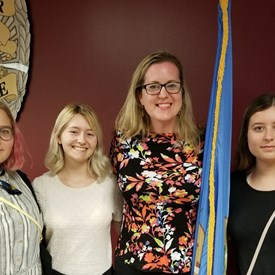 Stephenie, Lauren (MHS graduate & scholarship recipient), Sarah Carnes, and Cassie. Canadian County Democrats Meeting (July 9, 2018).