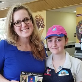 Sarah Carnes meets with constituent Breeana M. (and MHS student) at Braum's, Mustang, OK (6/03/2018).