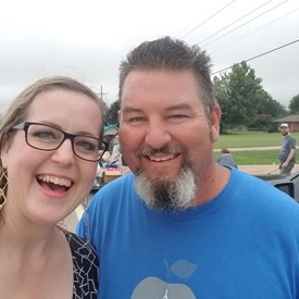 Candidate Sarah Carnes and Jeramy Carnes.  2018 Western Days Canadian County Democrats Float, Mustang, OK (9/08/2018).