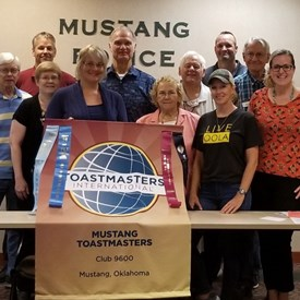 We meet every Monday from 6:30 pm to 7:30 pm.  Our membership goal is to add 10 new members.  Consider yourself invited!  Join our meeting next week. Mustang Toastmasters Meeting (July 23, 2018).