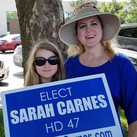 Miss Carnes and Sarah Carnes at the Freedom Festival Parade on Independence Day (July 4, 2018).