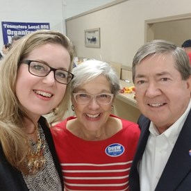 Linda Edmonson and Drew Edmonson Governor candidate (https://drewforoklahoma.com/) with Sarah Carnes at the Pancake Breakfast.
