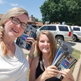Sarah and Miss Carnes campaigning in Mustang (6/23/2018).