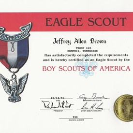 Jeff's Eagle Scout Certificate