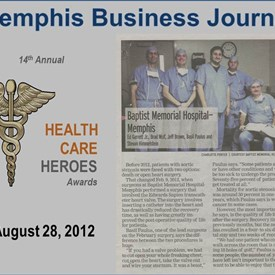"Recognition by the Memphis Business Journal as a ""Health Care Hero"" award recipient in 2012"