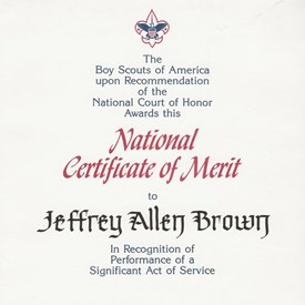 Boy Scouts of America National Certificate of Merit awarded to Jeff in 1991 for donating muscle cells to his brother Jeremy who suffered from muscular dystrophy