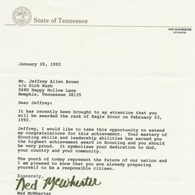 A 1992 letter from Tennessee Governor Ned McWherter congratulating Jeff for becoming an Eagle Scout