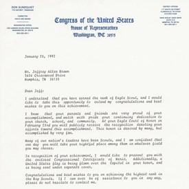 A 1992 letter from US Congressman Don Sundquist congratulating Jeff for becoming an Eagle Scout