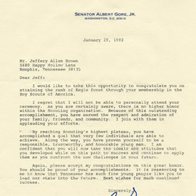 A 1992 letter from US Senator Al Gore, Jr. congratulating Jeff for becoming an Eagle Scout
