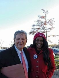 Cindy with US Senator Kennedy (Louisiana)at Trump Rally in Louisiana.