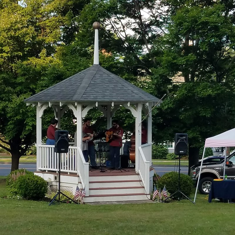 "The Kevin Prater Band in the Gazebo on the Suffield Green, July 4, 2018, for the Red, White, and Bluegrass Festival.  Jack asked them to play, ""John Henry,"" in honor of his father, John Henrie, who worked on the railroad for his entire non-military career."