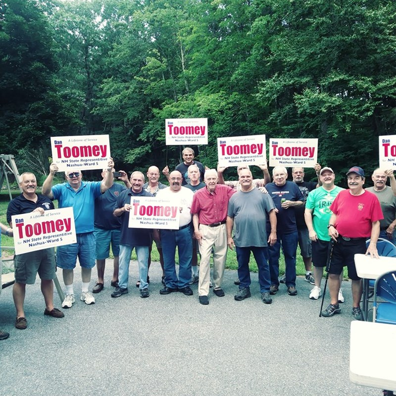 Organizing support at the annual Retired Nashua Firefighters cookout, August 8 at John Cote's in Hollis.