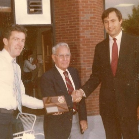 Giving an award along with Mayor Jim Donchess to the  first Nashua Firefighters Association president Patrick Flanagan. Brother Flanagan was a leader in organizing Local 789, in 1943.