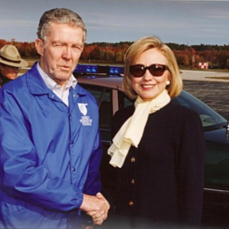 Welcoming Hillary at the Nashua Airport for the American Federation of Teachers.  I was a AFT Staff Rep at the time.