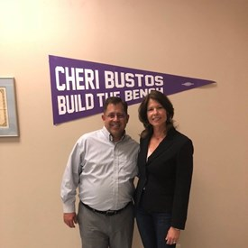 Standing with congresswoman Cheri Bustos while attending her Build the Bench program