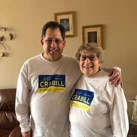 My Aunt Carol wearing a campaign shirt
