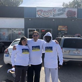 In front of Rosy's with Laurie Bell and Arthur Haynes wearing the campaign shirts that Arthur made