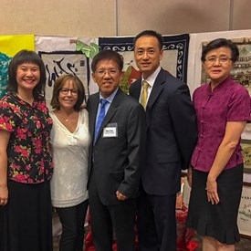 President Wallin with Principal Yulan Chen of the Irvine Chinese School and Board Members of the South Coast Chinese Cultural Center at the end of another successful PACE program for IUSD teachers!