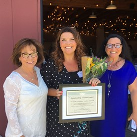 Board Members Sharon Wallin and Lauren Brooks celebrate IUCPTA Outstanding Teachers Award given to Westpark Elementary with Principal Deanna Rutter