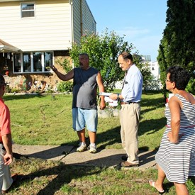Listening to residents' concerns.