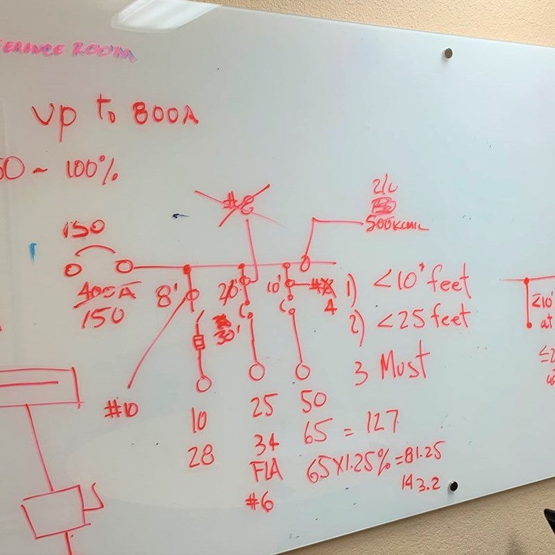 Conference Room Whiteboard after an electrical engineering class taught by Electrical Engineer Mr. Tony Hernandez.
