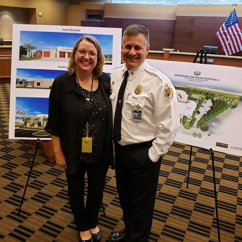With Chief Draizin learning about our new state of the art fire station at the open house in city hall.