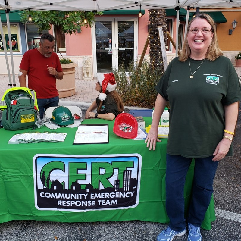 The CERT booth at the Town Center tree lighting 2019.