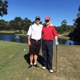 Son Steve and Dad at the UF golf course on a great Florida day.