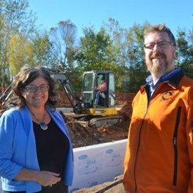Pauline with Ashley Perry at the start of construction of the garage for the Valley Search and Rescue fleet. The VSAR general membership voted to make Raven an honorary member because of the level of passion and effort she put into the project. October 19, 2017.