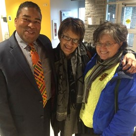 Visiting the Black Loyalist Heritage Centre, N.S., with friend Geraldine Browning Chair of the Valley African Nova Scotia Development Association and Tony Ince, Minister of African Affairs, NS. February 2015.