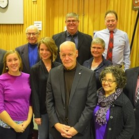 Kings County Council has 4 re-elected councillors including Pauline (front right), 5 new councillors and the first Kings County Mayor, Peter Muttart. November 2016.