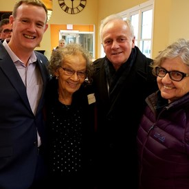 Pauline with Geof Turner, Dr. Geraldine Browning (Order of Nova Scotia), and Leo Glavine, Minister of Communities, Heritage and Culture, NS. January 31, 2019.