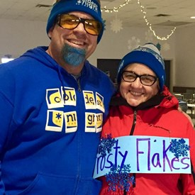 John Andrew, Executive Director of Open Arms with Pauline at the Coldest Night of the Year fundraising walk. February 23, 2019.