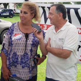 At the Polish Fair being interviewed by WRIV's Bruce Tria.