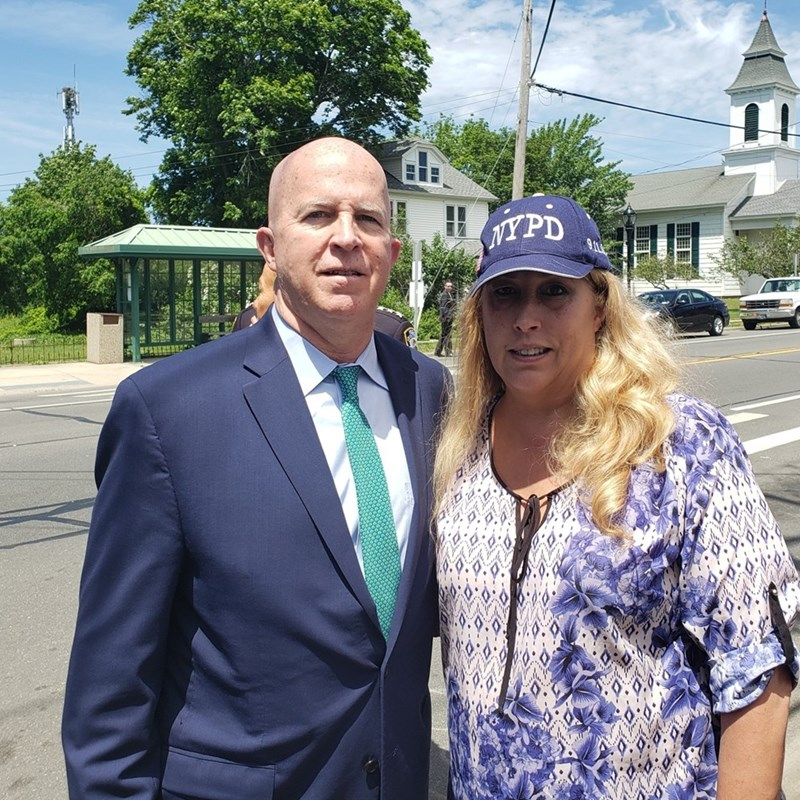 At a very sad and solemn event, Detective Brian P. Simonsen's street naming ceremony in Aquebogue with the New York City Police Commissioner James O'Neil.