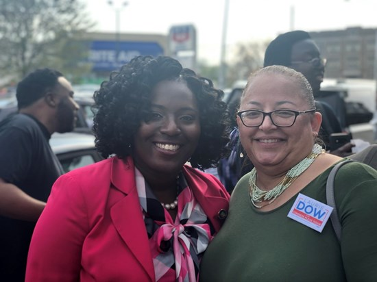 Laurie Dow with Representative Joanna McClinton