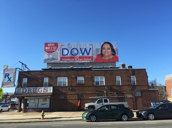 Dow's billboard at Broad and Erie