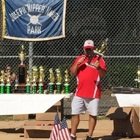 Bill hosting the 2018 Waltham Youth Baseball Banquet at Nipper Maher Park.