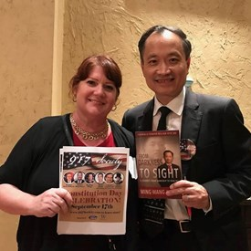 Me and Dr. Ming Wang celebrating Constitution Day with the 917 Society, September 17, 2018. We both share a love for our Constitution and the freedom it is meant to secure.