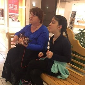 Me and Dilara last winter or spring (2018) before I was completely erased from her life again. We always enjoyed singing together. I play the ukulele and she has one, too, but I doubt she practices on her own.